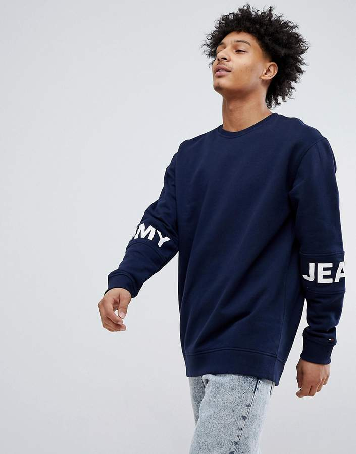 – Essential – Sweatshirt mit Rundhalsausschnitt und Logoband in Marineblau