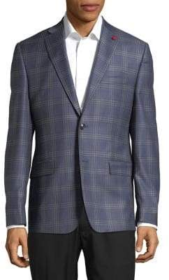 TailoRED Windowpane Plaid Suit Jacket