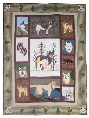 """Call Of The Wild Patch Magic Twin Quilt 65""""W x 85""""L"""