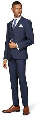 DKNY Mens Slim Fit Indigo Mohair Look Jacket