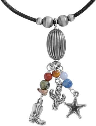 American West Sterling Multi Beaded Charm Tassel Necklace