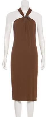 Michael Kors Gathered Sleeveless Midi Dress