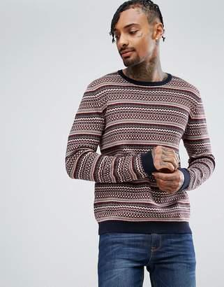 Asos DESIGN Cotton Fairisle Sweater In Red