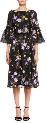 Erdem Floral-Embroidered V-Back A-Line Midi Dress