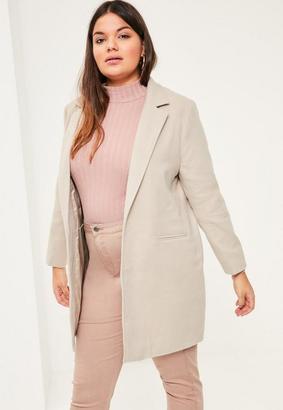 Plus Size Grey Faux Wool Coat $72 thestylecure.com