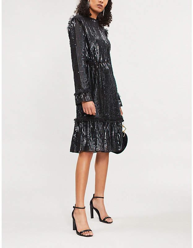 NEEDLE AND THREAD Gloss Sequin crepe mini dress