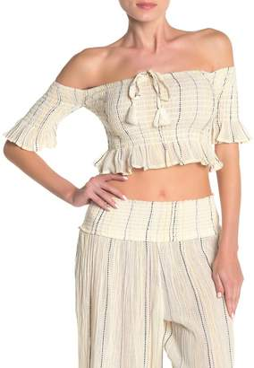 Surf.Gypsy Sunset Stripe Off-the-Shoulder Smocked Crop Top