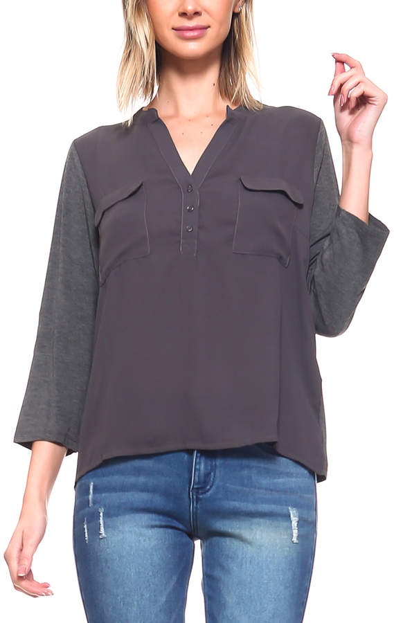 Charcoal Pocket V-Neck Top - Women & Plus