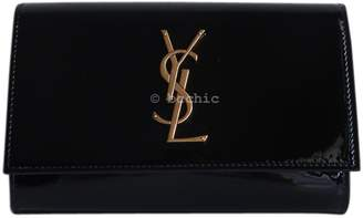 Saint Laurent Kate monogramme Black Patent leather Clutch Bag