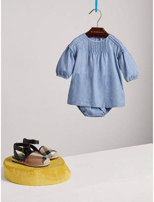 Burberry Pintuck Detail Chambray Dress with Bloomers
