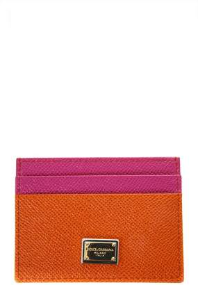 Dolce & Gabbana Orange & Fuxia Dauphine Leather Credit Card Holder