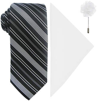 Jf J.Ferrar JF Striped Tie, Pocket Square and Lapel Pin Set