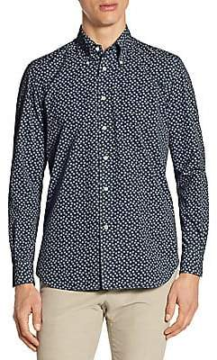 Luciano Barbera Men's Garment-Dyed Snowflake Button-Down Shirt
