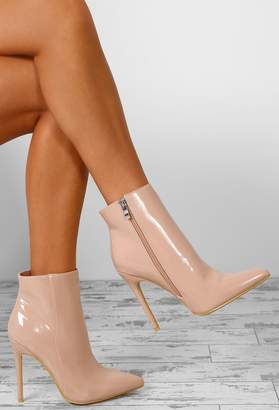 d81fb6cbbb45 Pink Boutique Easy Breezy Nude Patent Stiletto Heel Ankle Boots