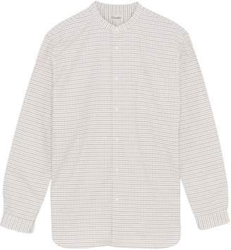 Camoshita Mandarin collar check Oxford shirt