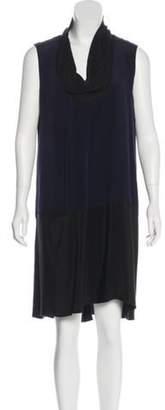 Derek Lam Silk Colorblock Dress Navy Silk Colorblock Dress