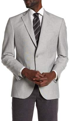 David Donahue Grey Stripe Two Button Notch Lapel Classic Fit Sport Coat