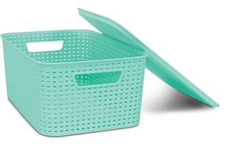 Homz Plastic Wicker Storage Boxes with Lid, Small