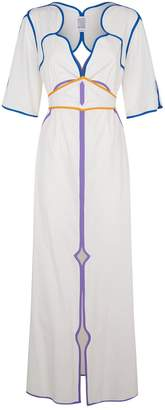 Piped Cotton Dress, White, US 8