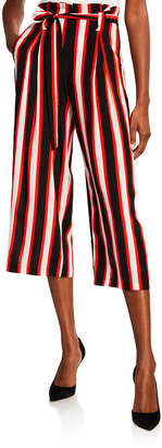 L'Agence Samira Striped Wide-Leg Cropped Paperbag Pants