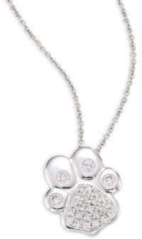 Roberto Coin Paw Diamond& 18K white Gold Pendant Necklace