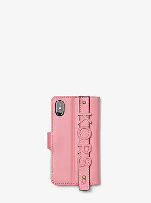 Michael Kors Embellished Leather Hand-Strap Folio Case For Iphone X Plus