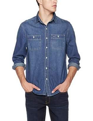 Trimthread Men's Classic Fit Button-Up Rugged Wear Long Sleeve Denim Sports Work Shirt (