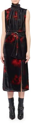 Altuzarra Mock-Neck Sleeveless Floral-Print Velvet Dress
