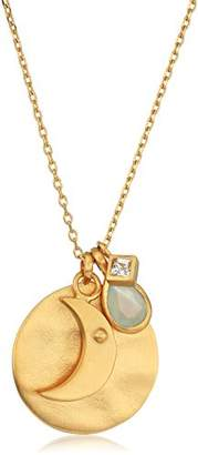 """Satya Jewelry Gold Moon White Topaz and Blue Agate Pendant Necklace, 30"""""""