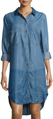 Philosophy Chambray Long-Sleeve Button-Front Shirtdress, Indigo $99 thestylecure.com