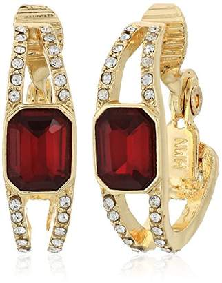 Anne Klein Gold-Tone Siam Hoop Clip Drop Earrings