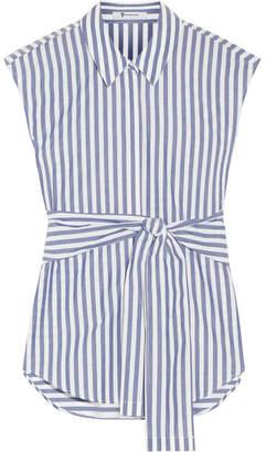 T by Alexander Wang - Tie-front Striped Cotton-poplin Shirt - Blue