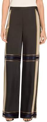 St. John Viscose Satin Plaid Wide Leg Pants