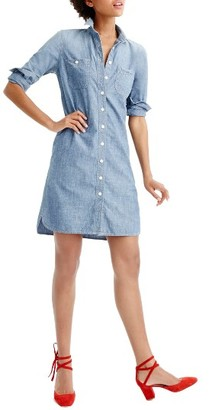 Women's J.crew Long Sleeve Chambray Shirtdress $98 thestylecure.com