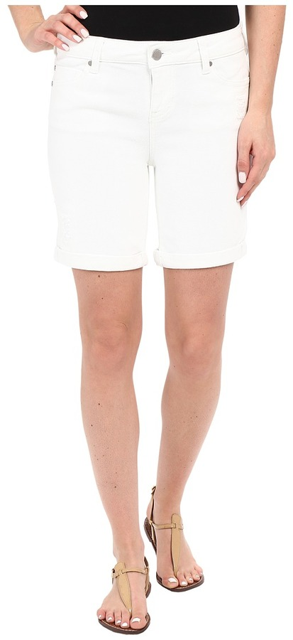 Liverpool Corine Rolled Denim Shorts w/ Destruction in Bright White