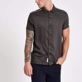 River Island Mens Khaki tape short sleeve shirt