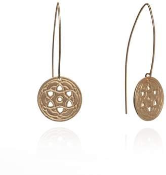 Maro - Gold Byzantine Long Hoop Earrings