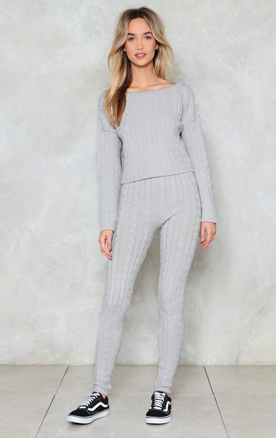 nastygal Wind Down Lounge Sweater and Leggings Set
