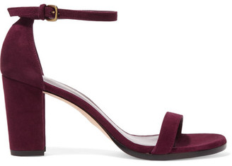 Stuart Weitzman - Nearlynude Suede Sandals - Burgundy $400 thestylecure.com