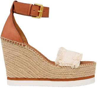 See by Chloe 120mm Canvas & Leather Wedge Sandals