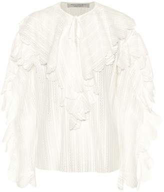 Philosophy di Lorenzo Serafini Ruffle-trimmed cotton-blend blouse