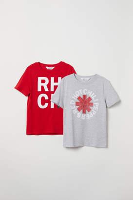 H&M 2-pack Printed T-shirts - Gray