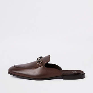 River Island Dark brown leather snaffle backless loafer