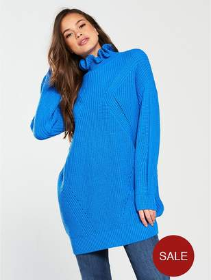 at Littlewoods · Vero Moda Glendora Siska Long Sleeve High Neck Oversized  Jumper - French Blue 4e331ea8e205