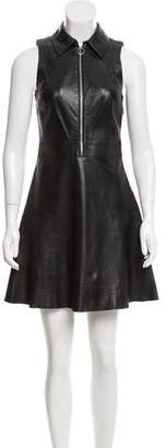 MICHAEL Michael Kors Leather Fit And Flare Dress