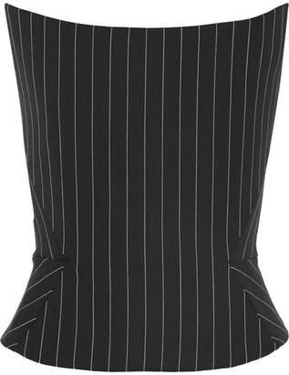 Gareth Pugh Pinstriped Wool-blend Bustier Top - Black