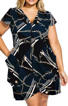 City Chic Chained Up Zip Front Tunic Dress