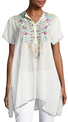 Johnny Was Livana Embroidered Short-Sleeve Tunic $220 thestylecure.com