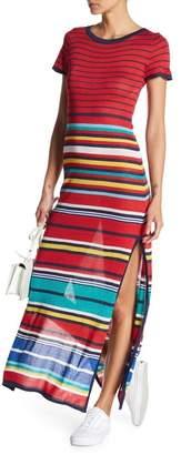 Desigual Short Sleeve Stripe Maxi Dress
