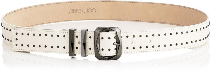 Jimmy ChooBLITZ Chalk Leather Belt with Mini Studs
